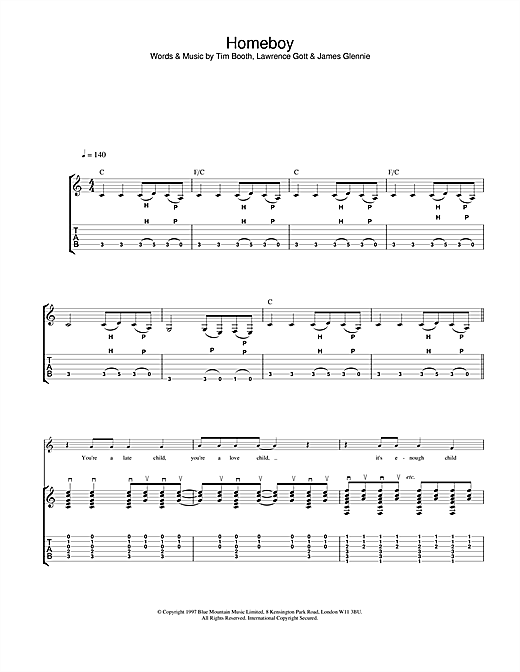 James Homeboy sheet music notes and chords