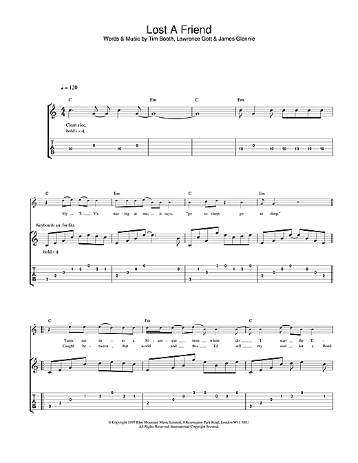 James Lost A Friend sheet music notes and chords