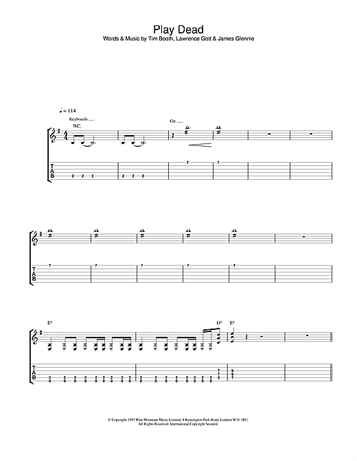 James Play Dead sheet music notes and chords