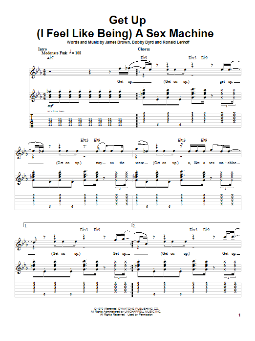 James Brown Get Up (I Feel Like Being) A Sex Machine sheet music preview music notes and score for Guitar Tab including 12 page(s)