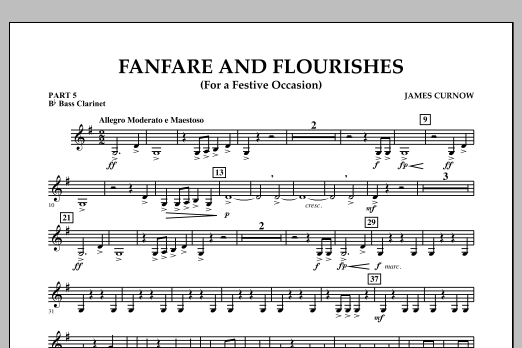 James Curnow Fanfare and Flourishes (for a Festive Occasion) - Pt.5 - Bb Bass Clarinet sheet music notes and chords