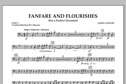 James Curnow Fanfare and Flourishes (for a Festive Occasion) - Pt.5 - Trombone/Bar. B.C./Bsn. sheet music notes and chords