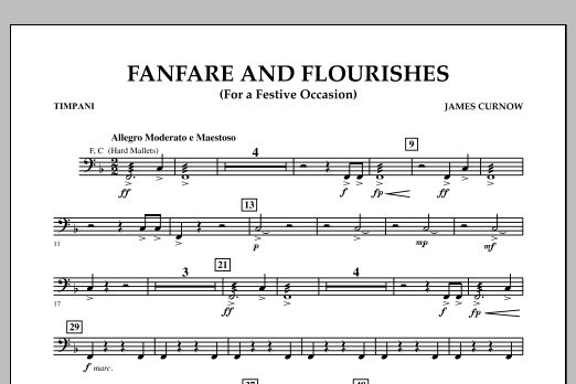 James Curnow Fanfare and Flourishes (for a Festive Occasion) - Timpani sheet music notes and chords