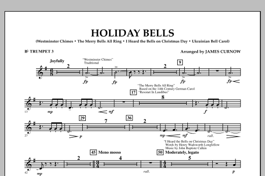 James Curnow Holiday Bells - Bb Trumpet 3 sheet music notes and chords