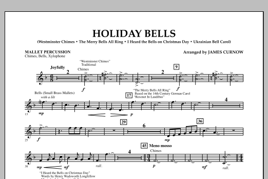 James Curnow Holiday Bells - Mallet Percussion sheet music notes and chords