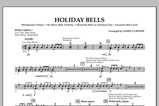 James Curnow Holiday Bells - Percussion 1 sheet music notes and chords