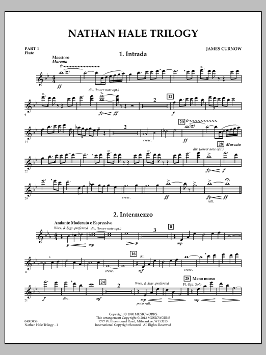 James Curnow Nathan Hale Trilogy - Pt.1 - Flute sheet music notes and chords