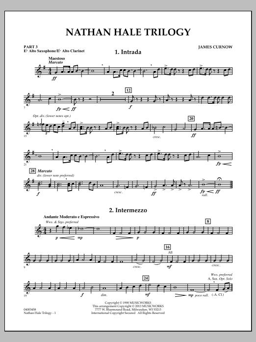 James Curnow Nathan Hale Trilogy - Pt.3 - Eb Alto Sax/Alto Clar. sheet music notes and chords