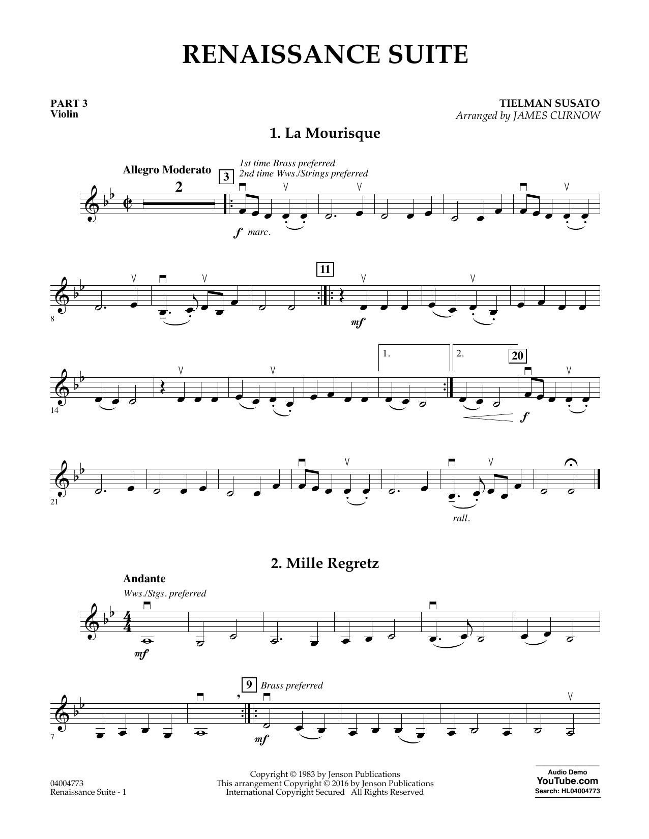 Download James Curnow 'Renaissance Suite - Pt.3 - Violin' Digital Sheet Music Notes & Chords and start playing in minutes