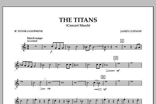 James Curnow The Titans (Concert March) - Bb Tenor Saxophone sheet music notes and chords