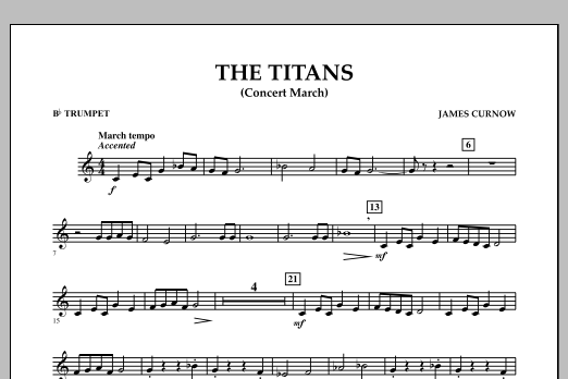 James Curnow The Titans (Concert March) - Bb Trumpet sheet music notes and chords