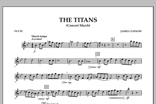 James Curnow The Titans (Concert March) - Flute sheet music notes and chords