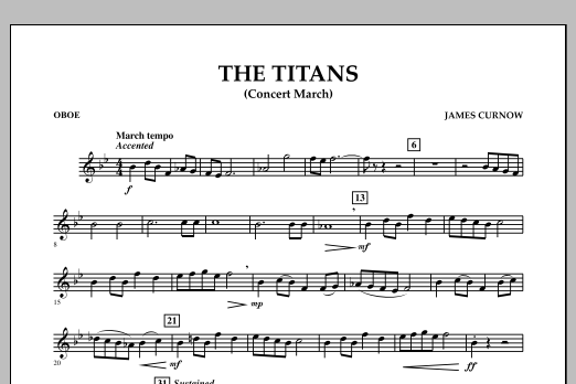 James Curnow The Titans (Concert March) - Oboe sheet music notes and chords