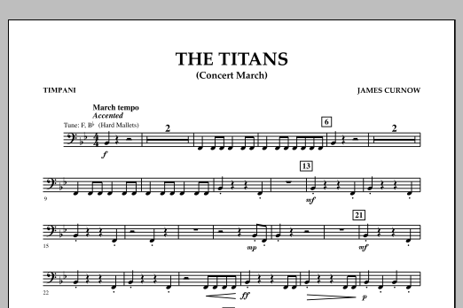 James Curnow The Titans (Concert March) - Timpani sheet music notes and chords