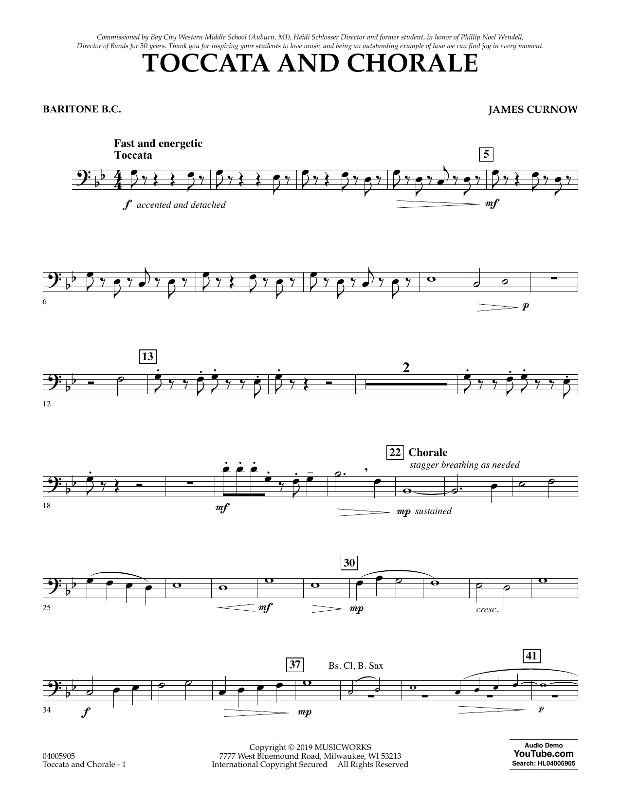 James Curnow Toccata and Chorale - Baritone B.C. sheet music preview music notes and score for Concert Band including 2 page(s)