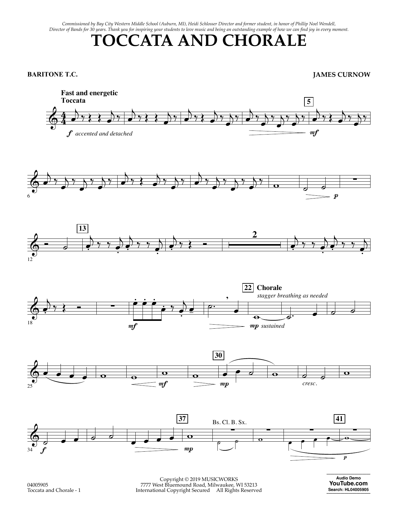 James Curnow Toccata and Chorale - Baritone T.C. sheet music preview music notes and score for Concert Band including 2 page(s)