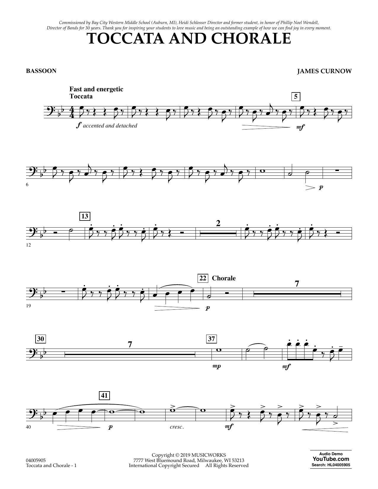 James Curnow Toccata and Chorale - Bassoon sheet music preview music notes and score for Concert Band including 2 page(s)