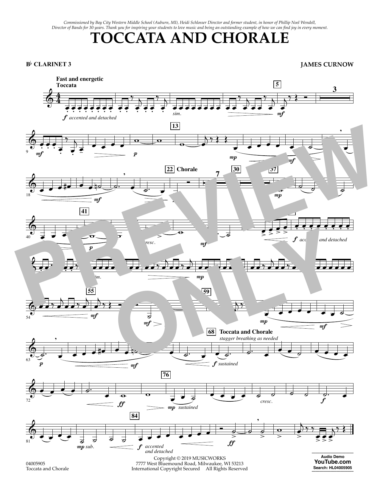 James Curnow Toccata and Chorale - Bb Clarinet 3 sheet music preview music notes and score for Concert Band including 1 page(s)