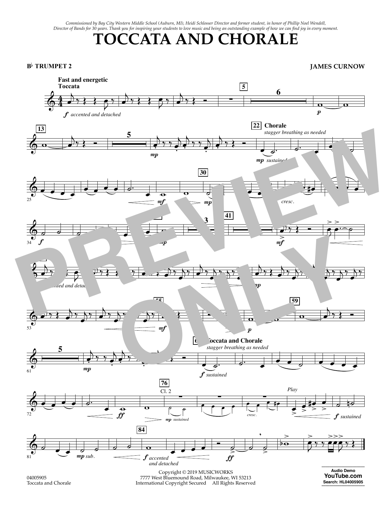 James Curnow Toccata and Chorale - Bb Trumpet 2 sheet music preview music notes and score for Concert Band including 1 page(s)
