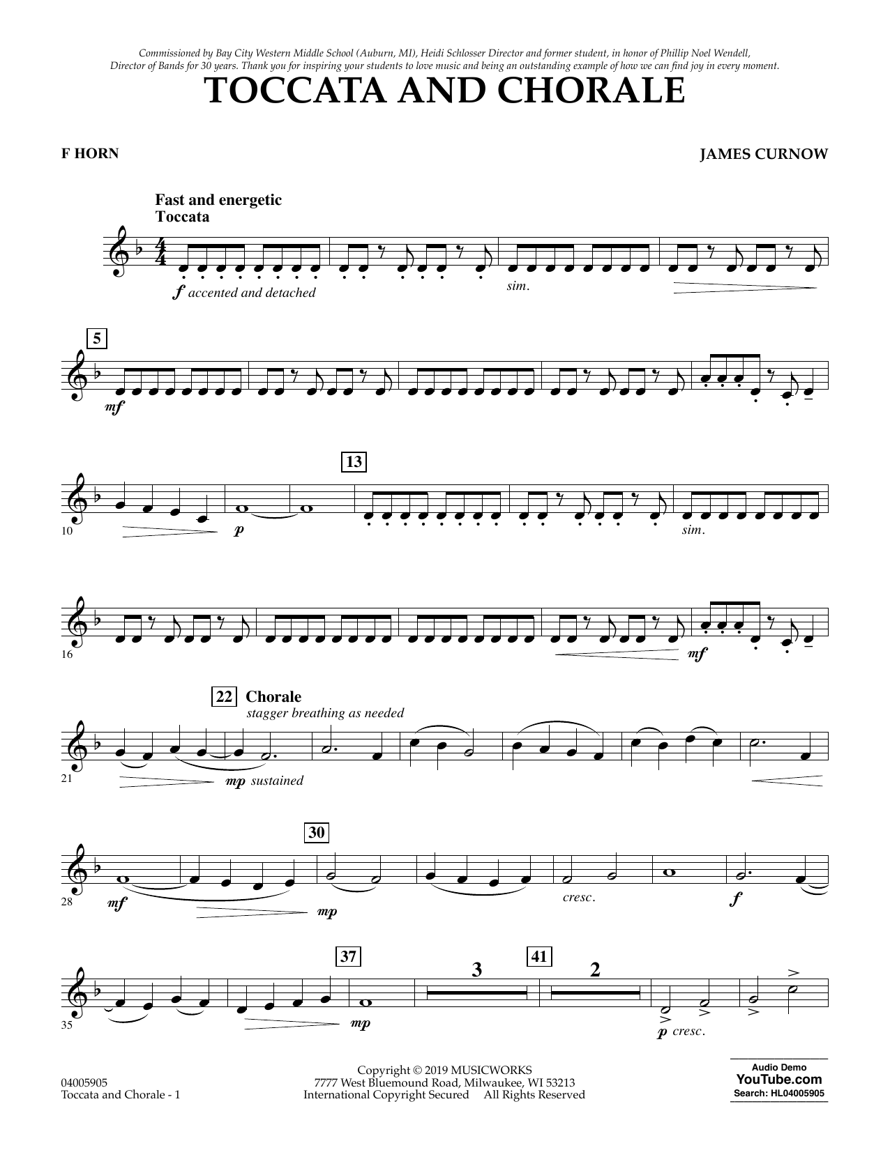 James Curnow Toccata and Chorale - F Horn sheet music preview music notes and score for Concert Band including 2 page(s)