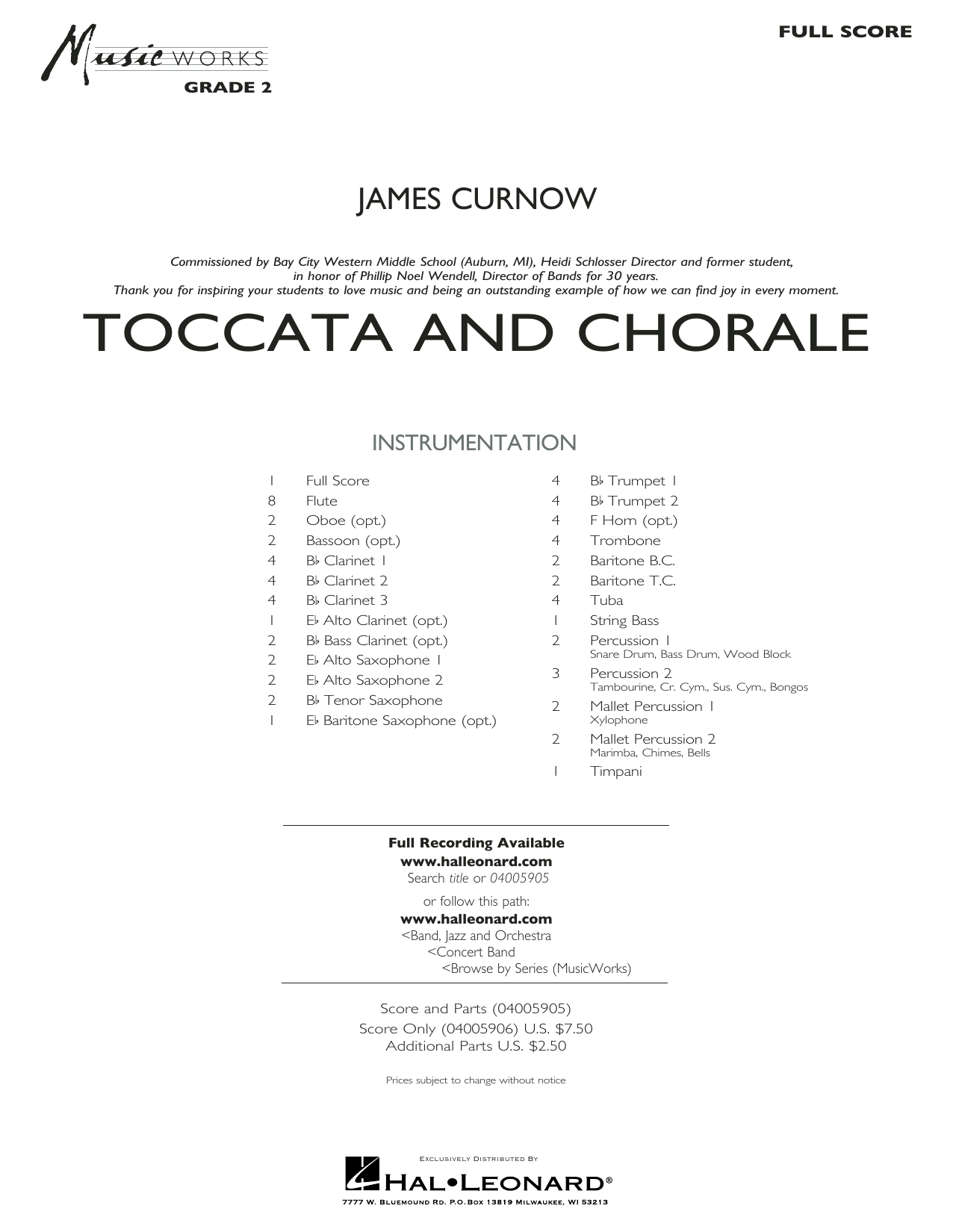 James Curnow Toccata and Chorale - Full Score sheet music preview music notes and score for Concert Band including 19 page(s)