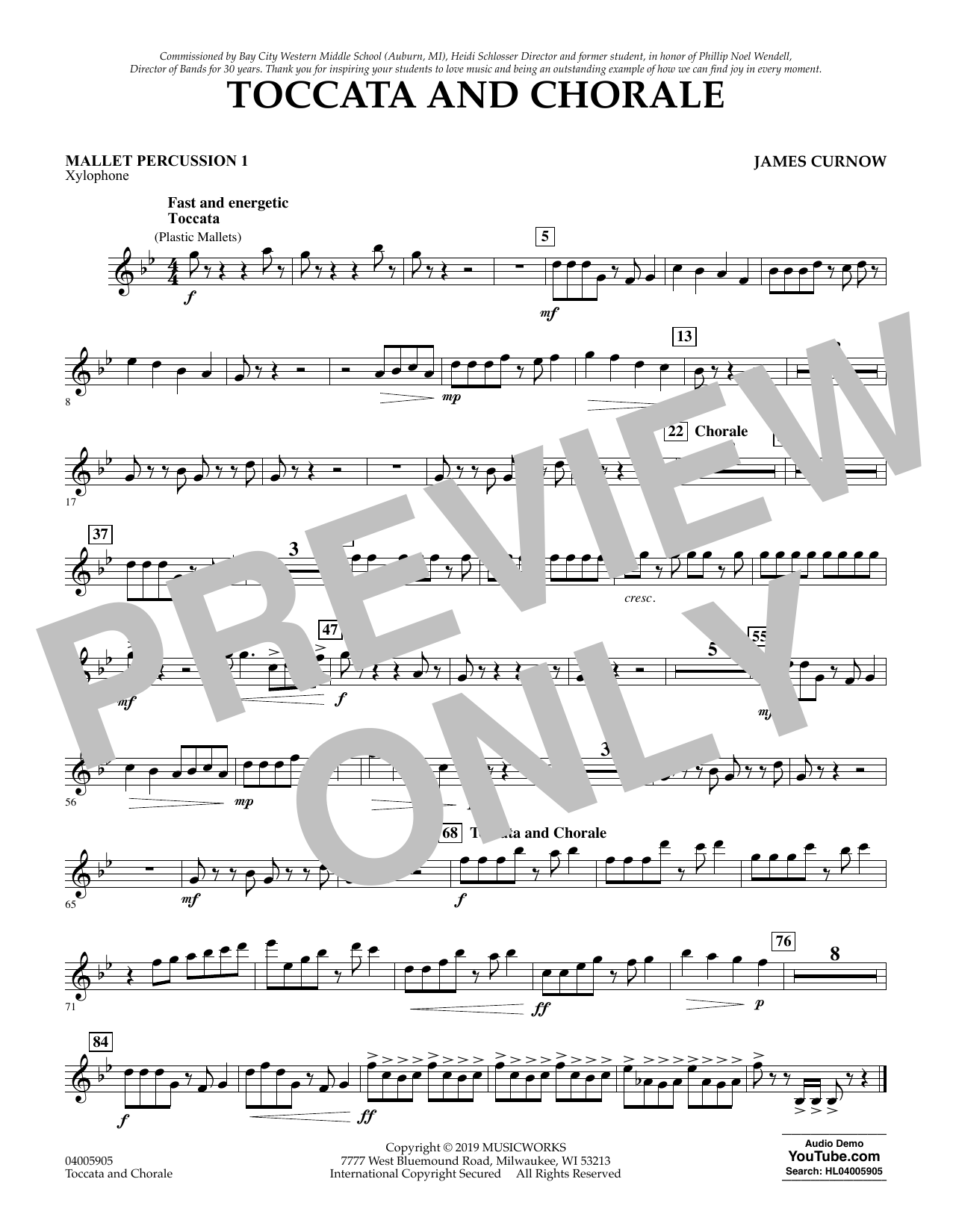 James Curnow Toccata and Chorale - Mallet Percussion 1 sheet music preview music notes and score for Concert Band including 1 page(s)