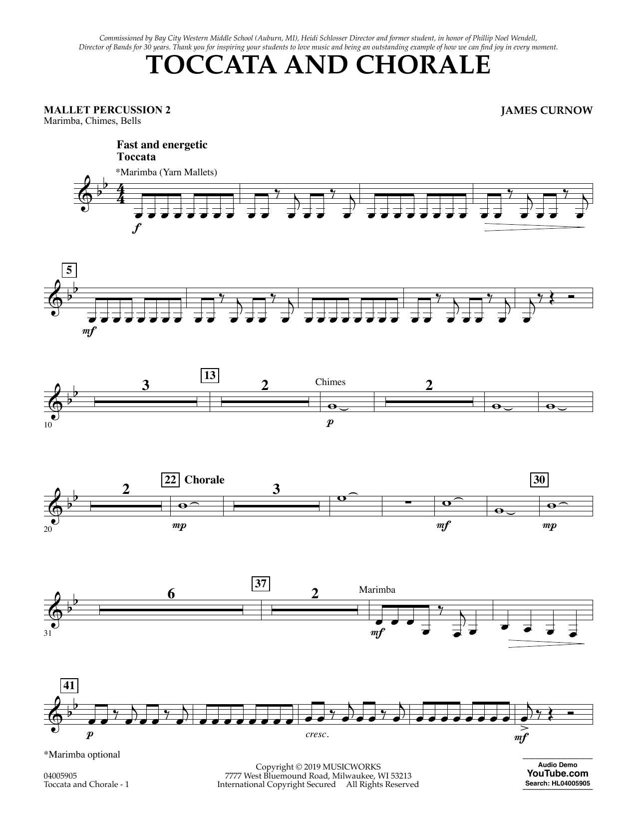 James Curnow Toccata and Chorale - Mallet Percussion 2 sheet music preview music notes and score for Concert Band including 2 page(s)