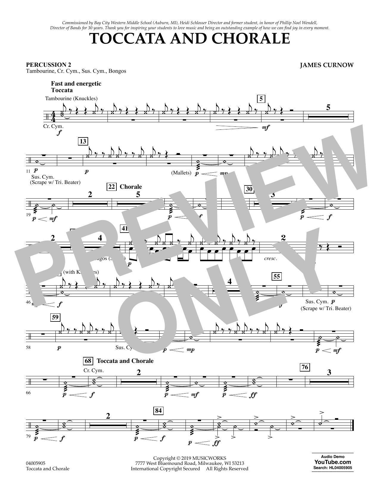 James Curnow Toccata and Chorale - Percussion 2 sheet music preview music notes and score for Concert Band including 1 page(s)