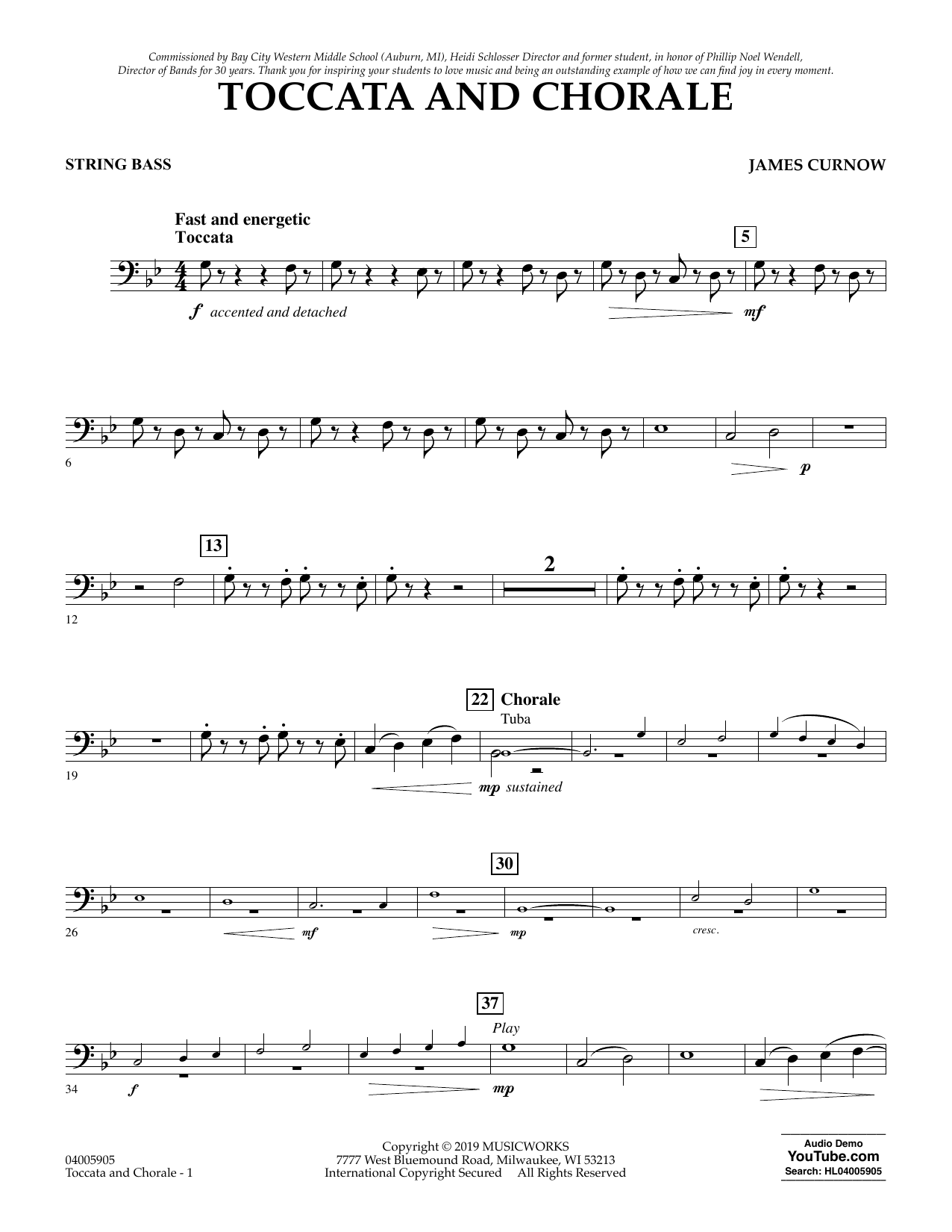 James Curnow Toccata and Chorale - String Bass sheet music preview music notes and score for Concert Band including 2 page(s)