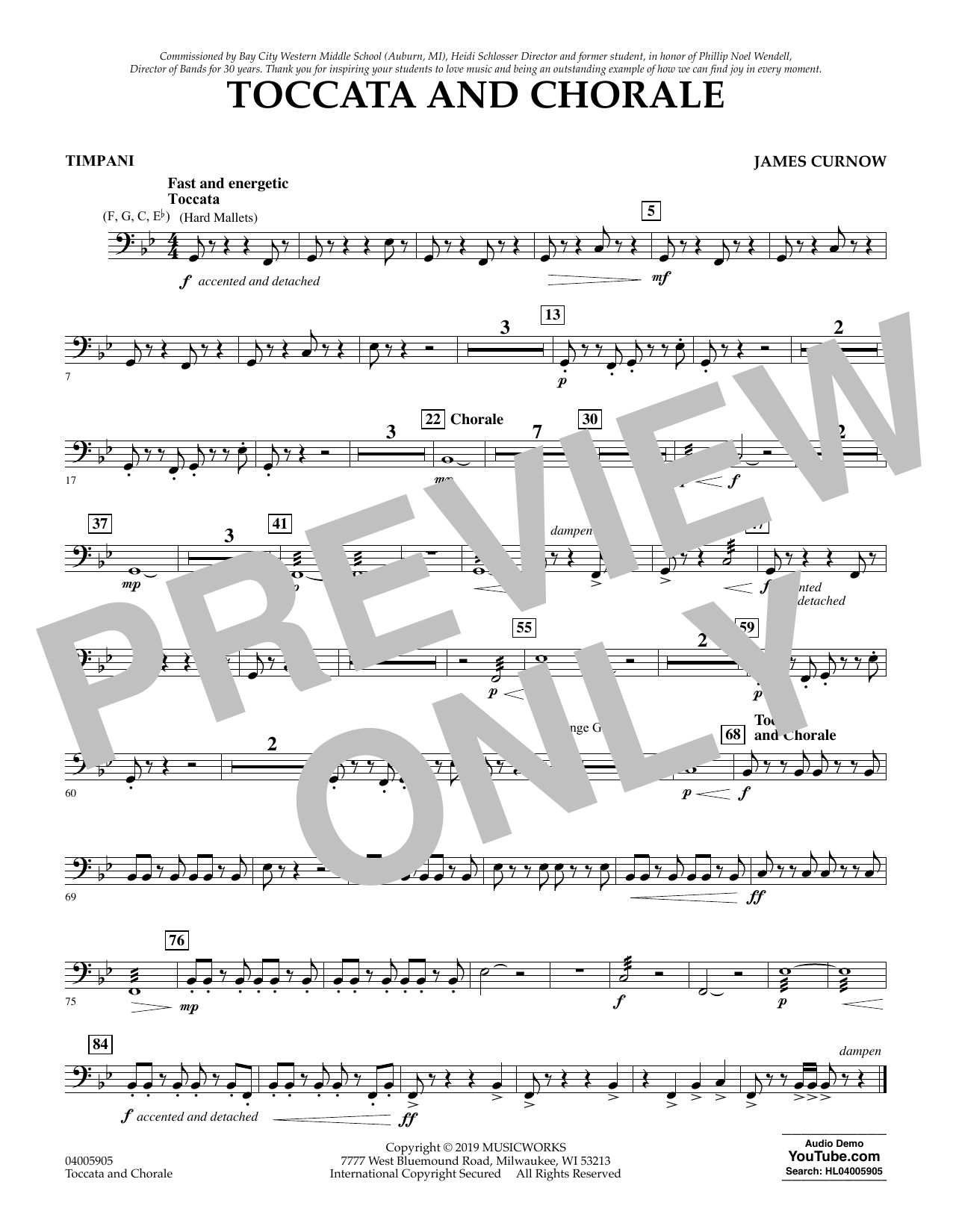 James Curnow Toccata and Chorale - Timpani sheet music preview music notes and score for Concert Band including 1 page(s)