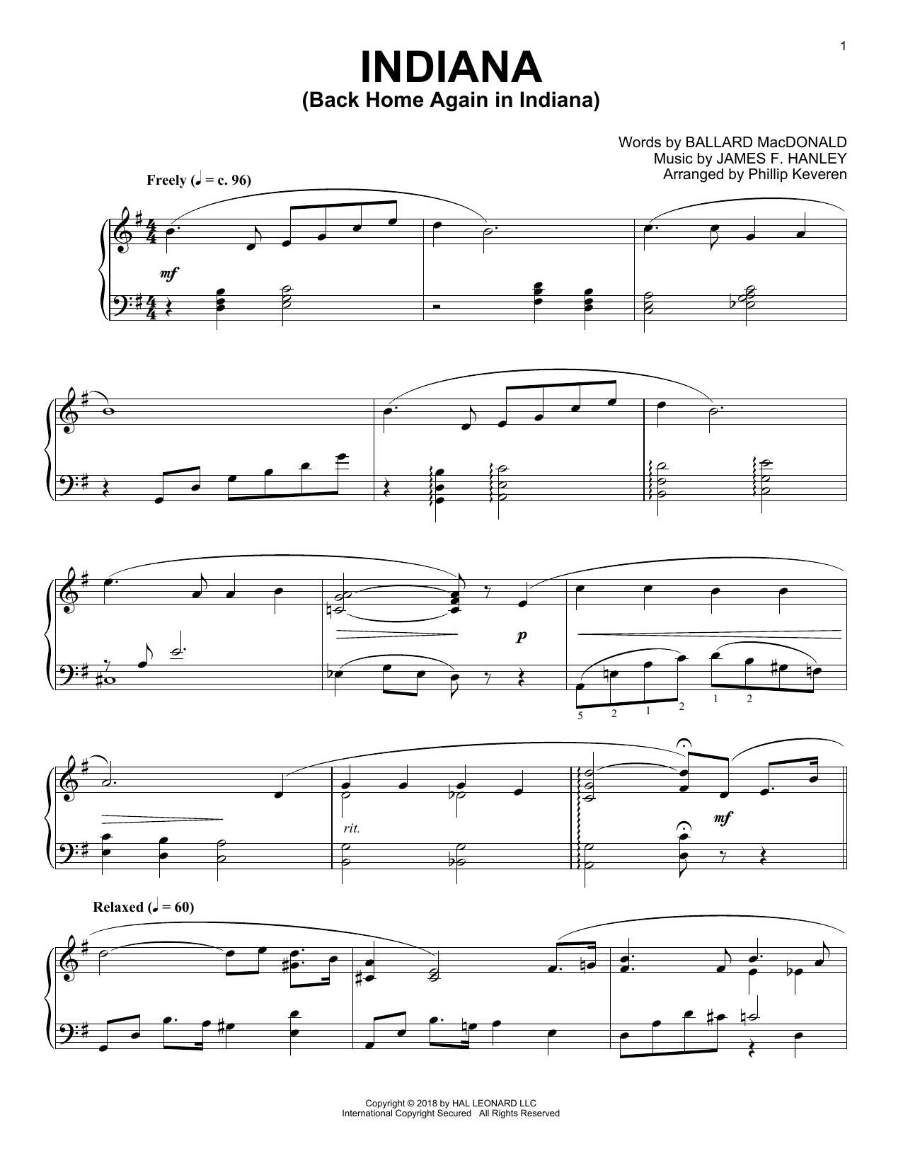 Download James F. Hanley 'Indiana (Back Home Again In Indiana) (arr. Phillip Keveren)' Digital Sheet Music Notes & Chords and start playing in minutes