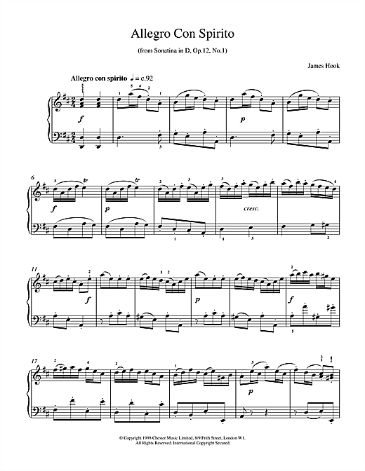 Download James Hook 'Allegro Con Spirito Op.12 No.1' Digital Sheet Music Notes & Chords and start playing in minutes