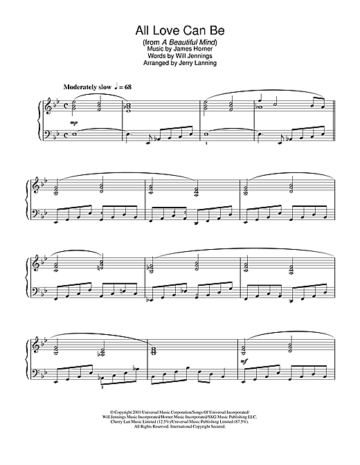 James Horner All Love Can Be (from A Beautiful Mind) sheet music notes and chords