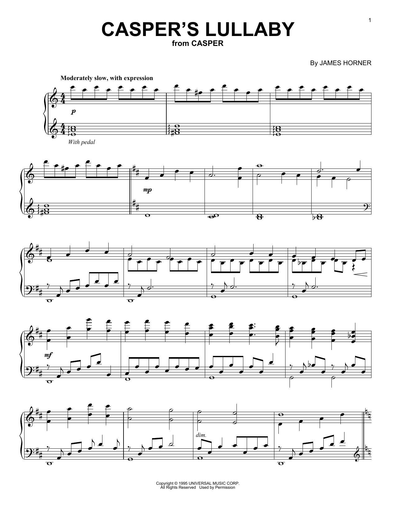 Download James Horner 'Casper's Lullaby' Digital Sheet Music Notes & Chords and start playing in minutes