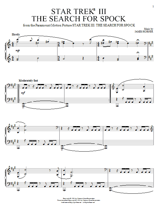 James Horner Star Trek(R) III - The Search For Spock sheet music notes and chords
