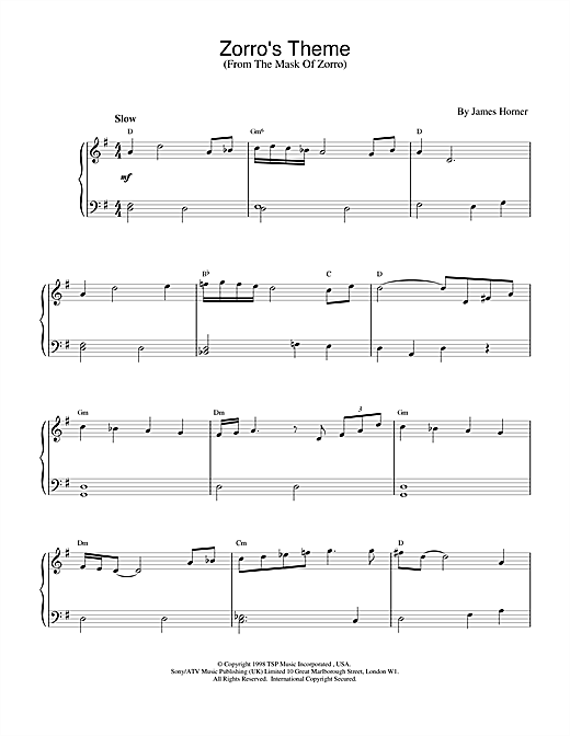 James Horner Zorro's Theme (from The Mask Of Zorro) sheet music notes and chords