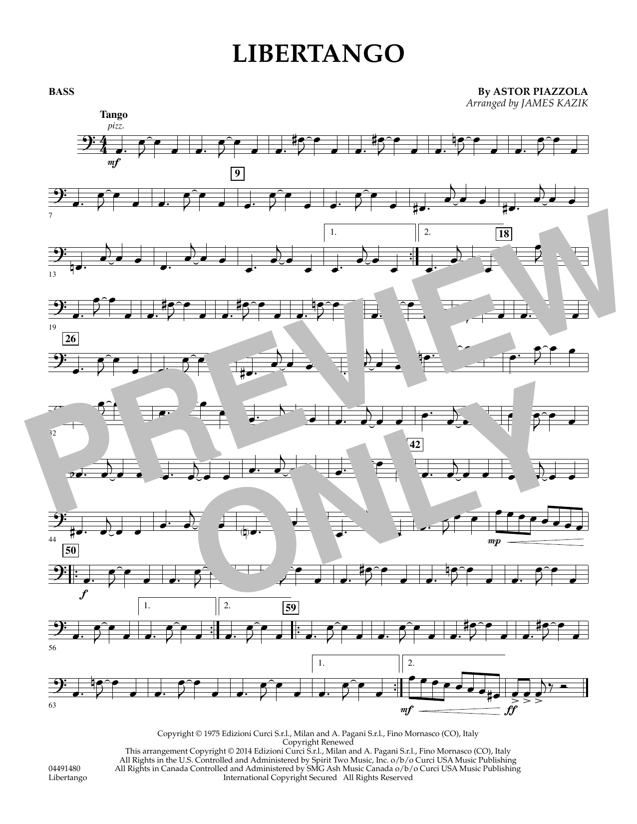 James Kazik Libertango - Bass sheet music preview music notes and score for Orchestra including 1 page(s)