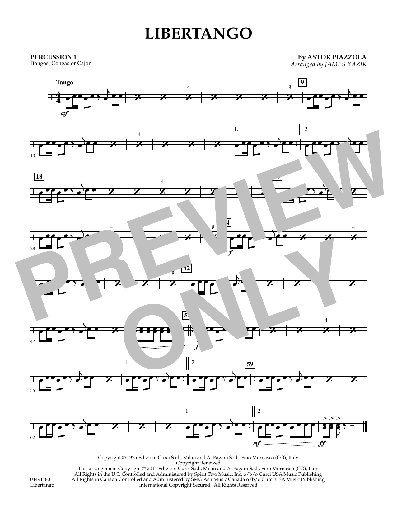 James Kazik Libertango - Percussion 1 sheet music preview music notes and score for Orchestra including 1 page(s)