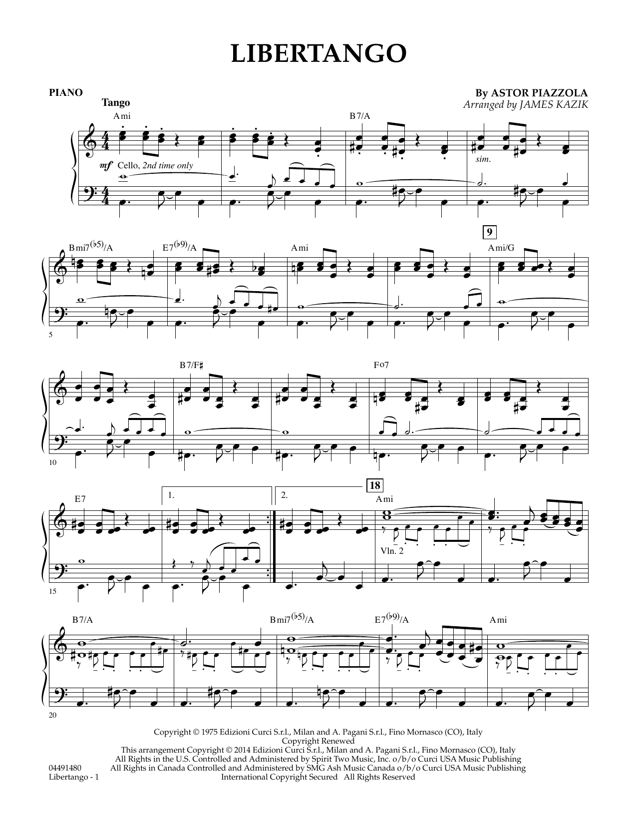 James Kazik Libertango - Piano sheet music preview music notes and score for Orchestra including 3 page(s)