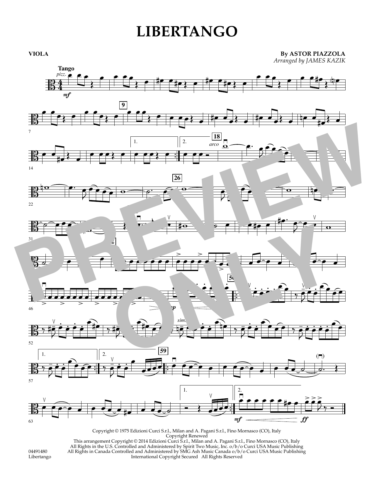James Kazik Libertango - Viola sheet music preview music notes and score for Orchestra including 1 page(s)