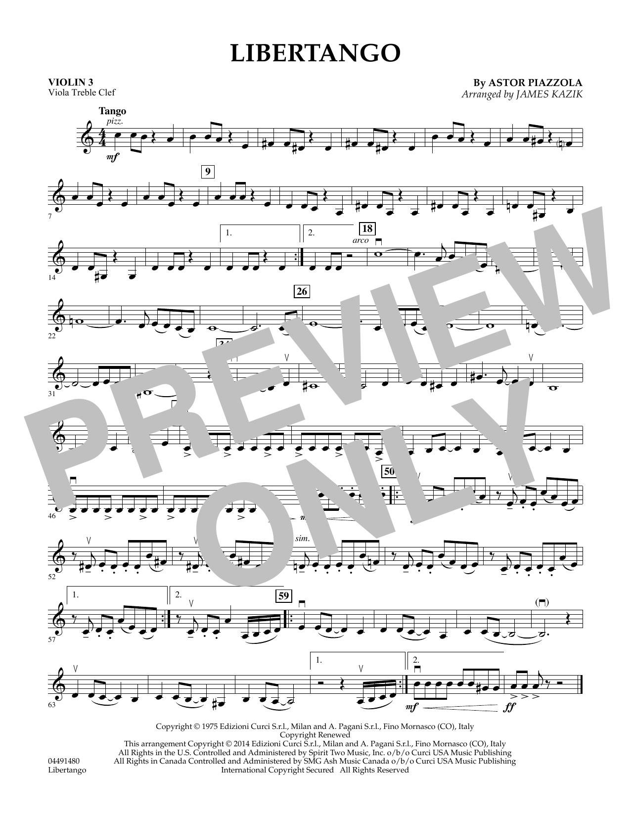 James Kazik Libertango - Violin 3 (Viola Treble Clef) sheet music preview music notes and score for Orchestra including 1 page(s)