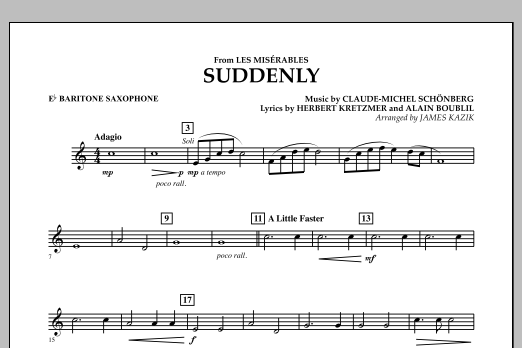 James Kazik Suddenly (from Les Miserables) - Eb Baritone Saxophone sheet music notes and chords