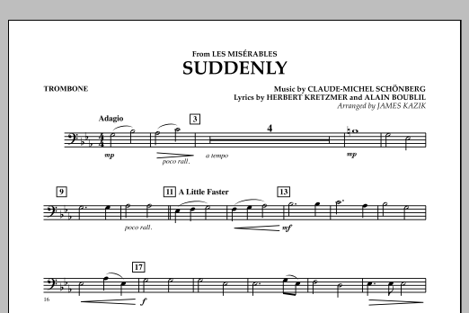 James Kazik Suddenly (from Les Miserables) - Trombone sheet music notes and chords