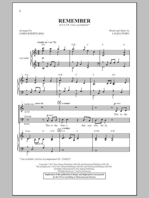 James Koerts Remember sheet music notes and chords