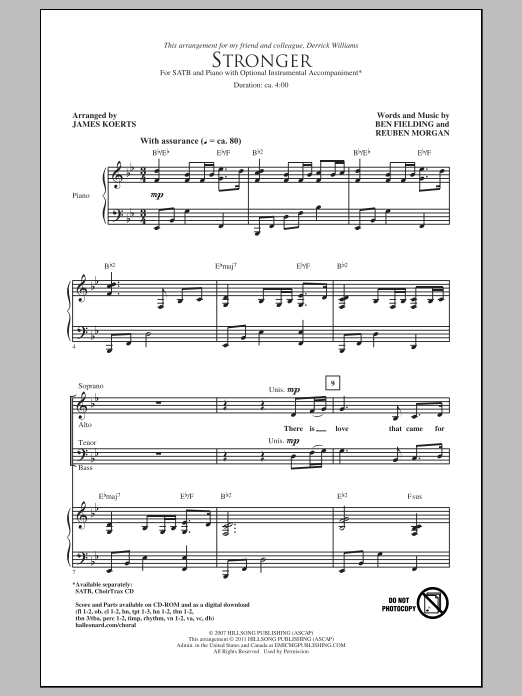 James Koerts Stronger sheet music notes and chords