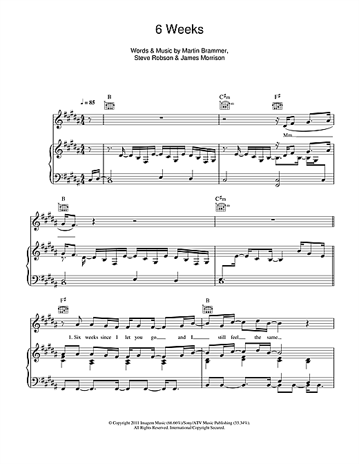 Download James Morrison '6 Weeks' Digital Sheet Music Notes & Chords and start playing in minutes