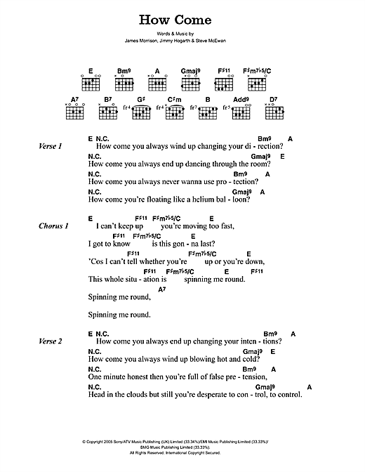 James Morrison How Come sheet music notes and chords