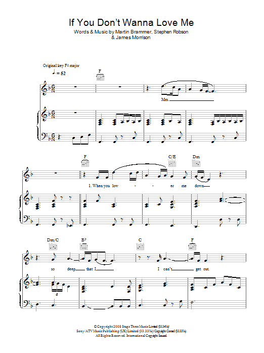 James Morrison If You Don't Wanna Love Me sheet music preview music notes and score for Piano, Vocal & Guitar including 5 page(s)