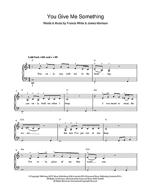 Download James Morrison 'You Give Me Something' Digital Sheet Music Notes & Chords and start playing in minutes