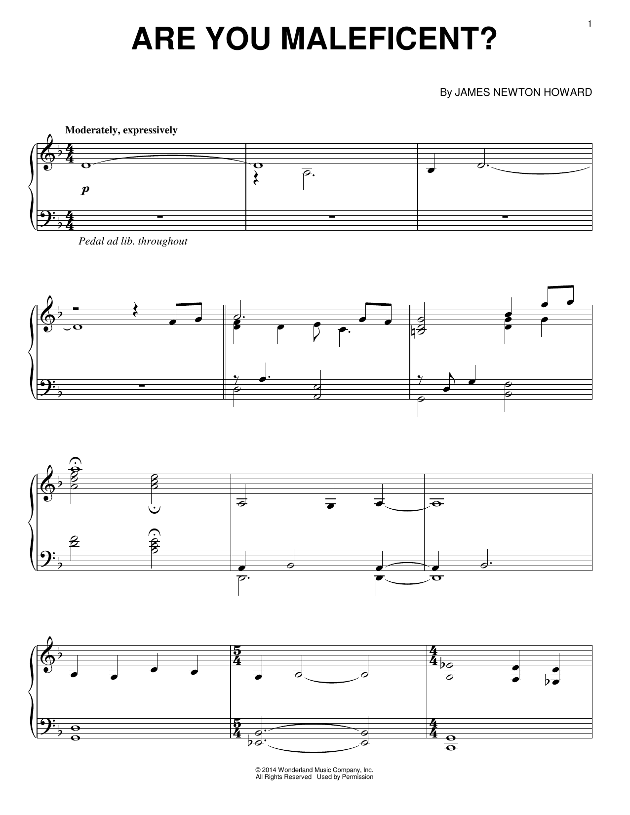 Download James Newton Howard 'Are You Maleficent?' Digital Sheet Music Notes & Chords and start playing in minutes